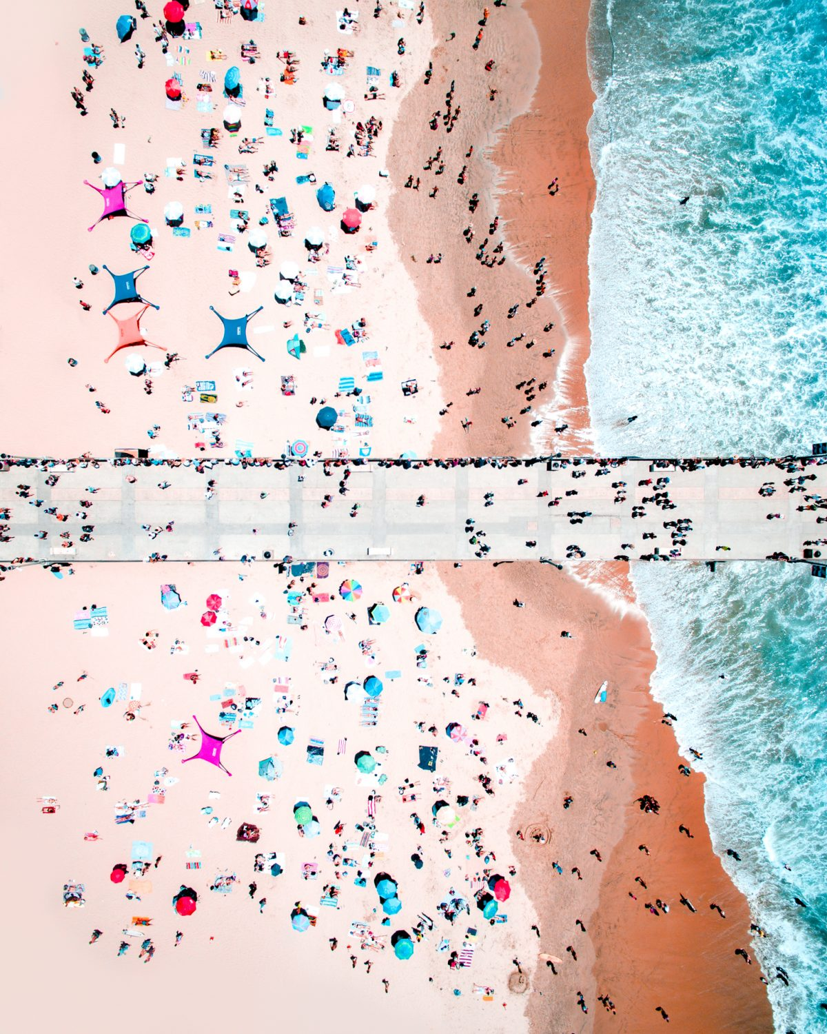 Drone, Beach, Crowd, Ocean