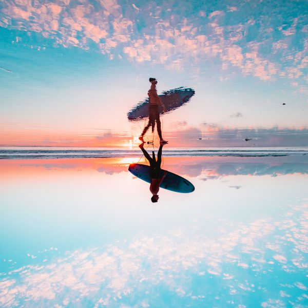 Surfer, Reflection, Ocean, Longnecker