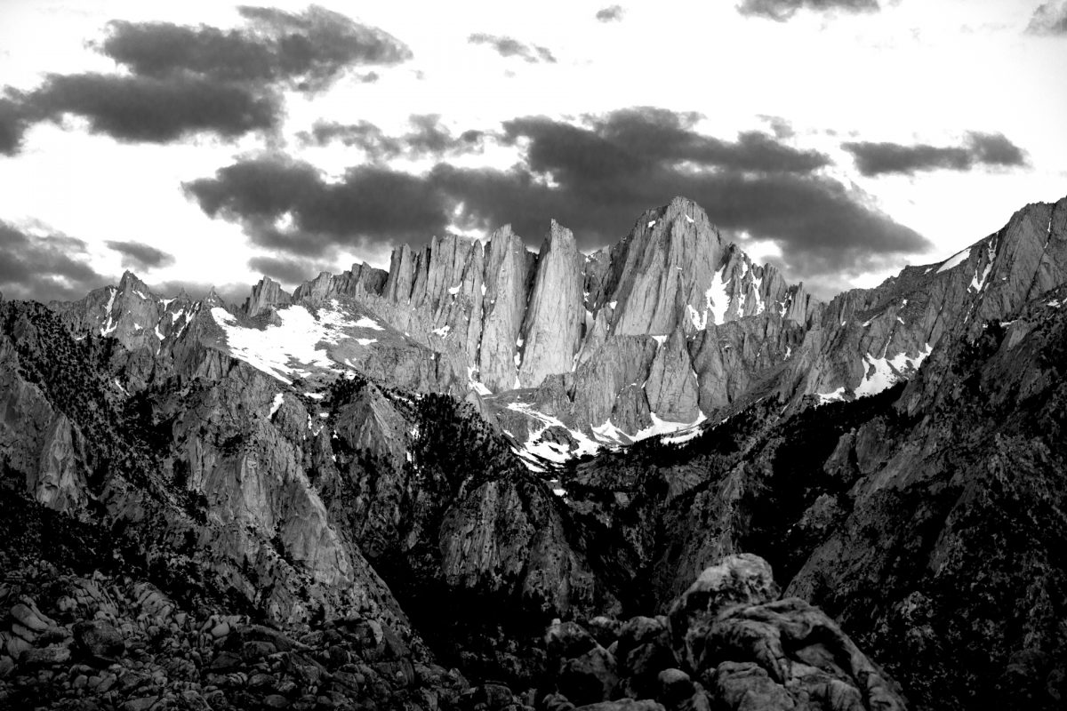 Whitney, Mountain, black and white